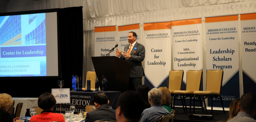Mihaylo College Center for Leadership Director Jay Barbuto speaks at the seventh annual Center for Leadership Awards.