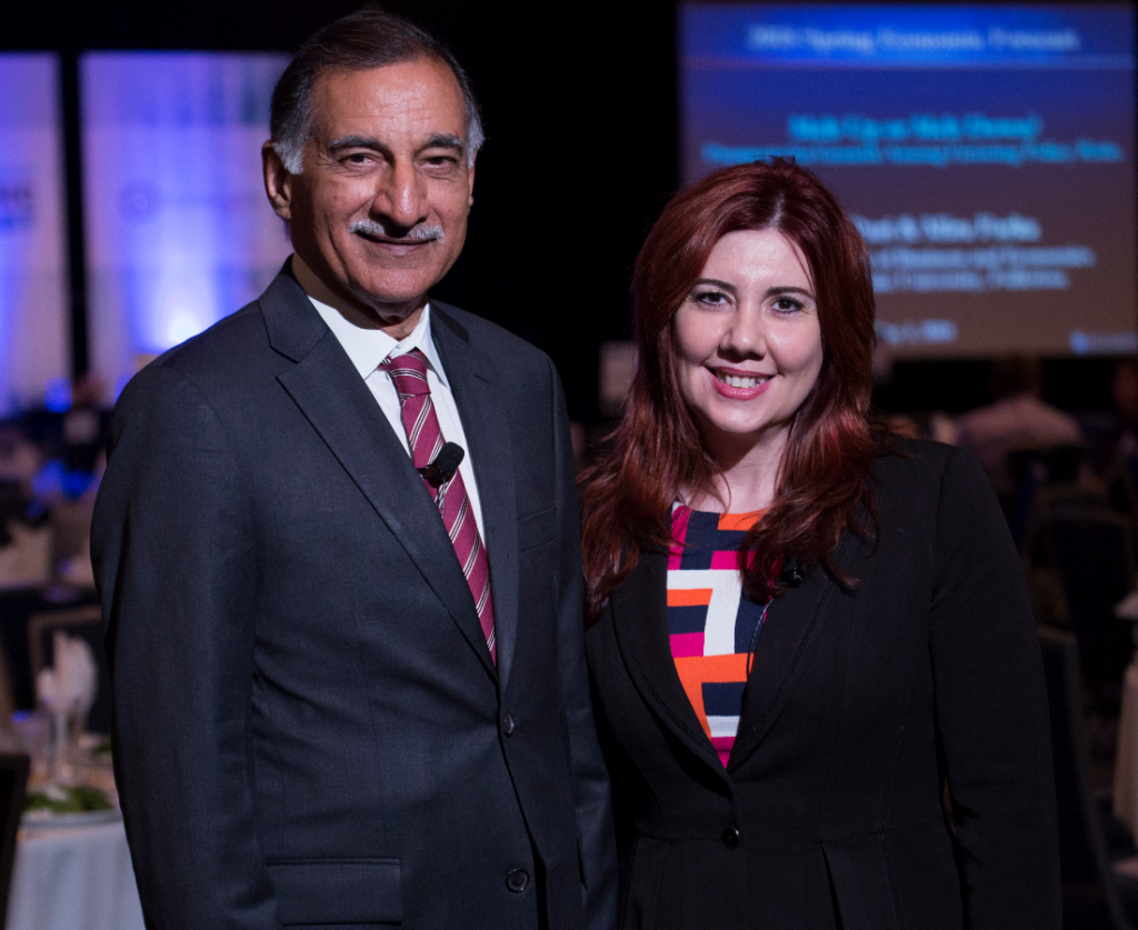 Mihaylo College Woods Center Director Anil Puri and Co-director and Associate Professor of Economics Mira Farka at the 2018 Spring Economic Forecast