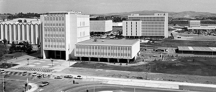 A vintage view of the Cal State Fullerton campus, looking northward from the campus of Hope International University