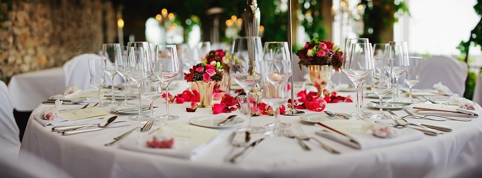A table professionally prepared for a catered event