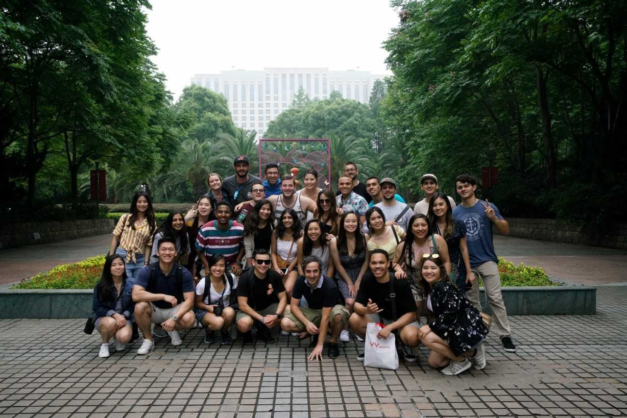 CSUF Mihaylo students at a park in China during a study tour in 2018.