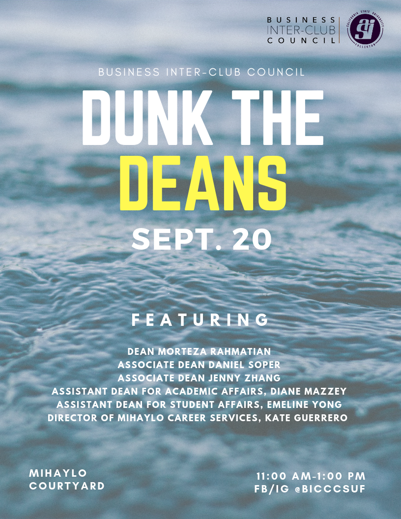 A flyer for the Dunk the Deans event, which will be held on Sept. 20, 2018, at CSUF Mihaylo College.