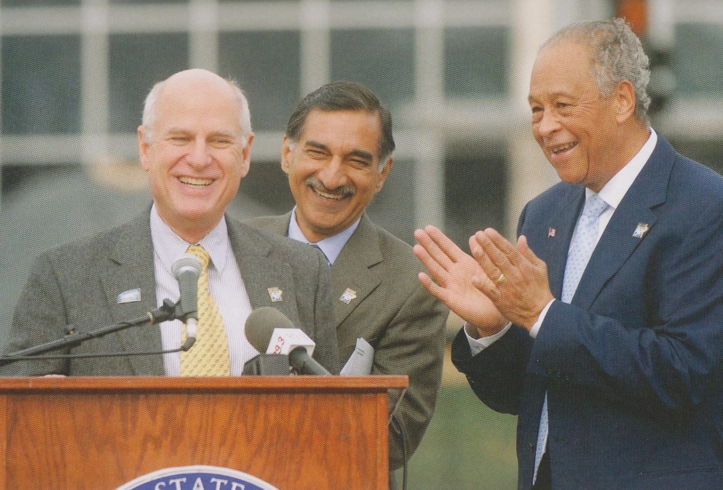 Steven G. Mihaylo, Dean Anil Puri and CSUF President Milton Gordon at the dedication of the Steven G. Mihaylo Hall in October 2008.