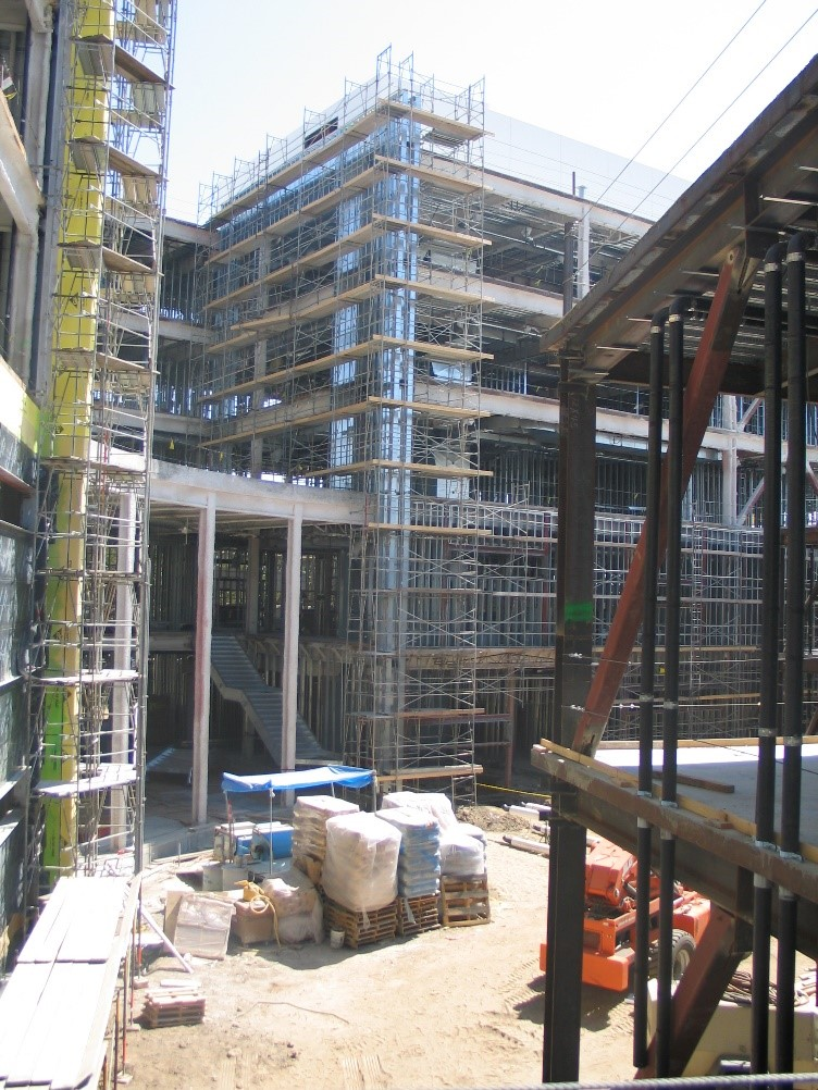 A view of Steven G. Mihaylo Hall at Cal State Fullerton under construction.