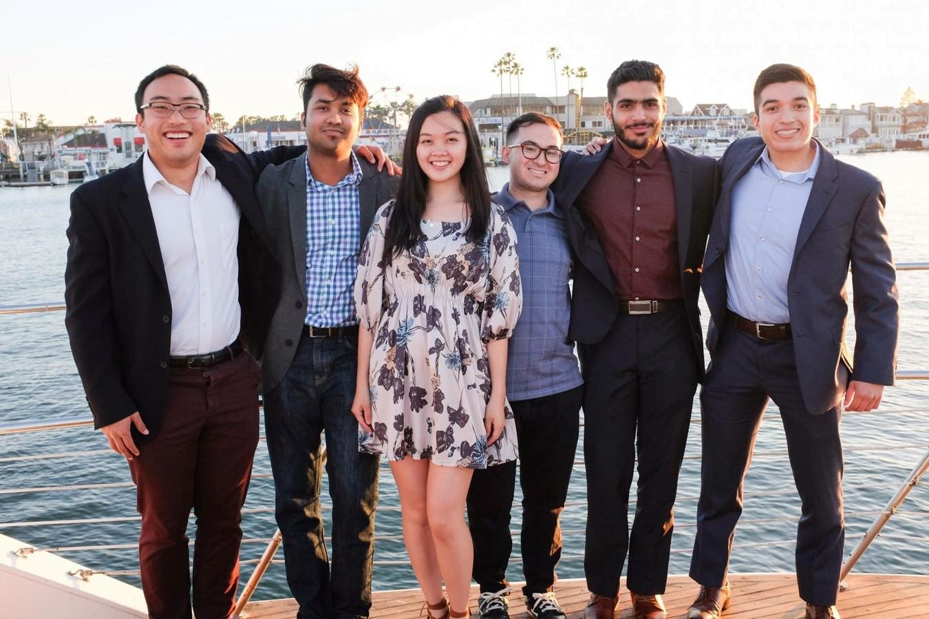 Members of the CSUF Mihaylo College Finance Association (FA) on a yacht in Newport Beach Harbor in Southern California.