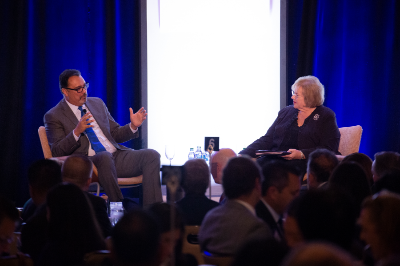 Michael Camuñez (left) and Lucy Dunn (right), two industry speakers at the CSUF Mihaylo Economic Forecast on Oct. 25, 2018.