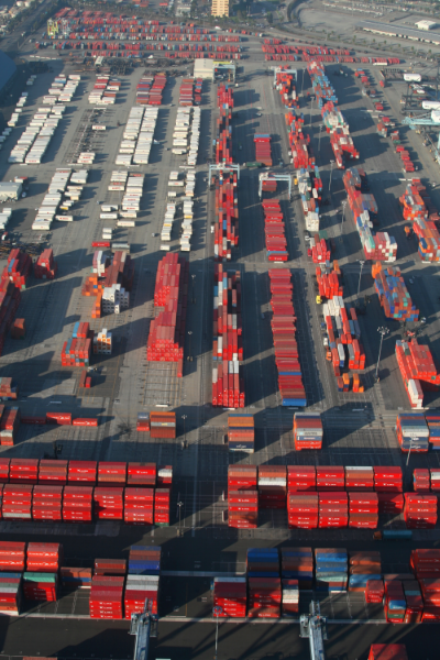 Aerial view of shipping containers at the Port of Long Beach, California.
