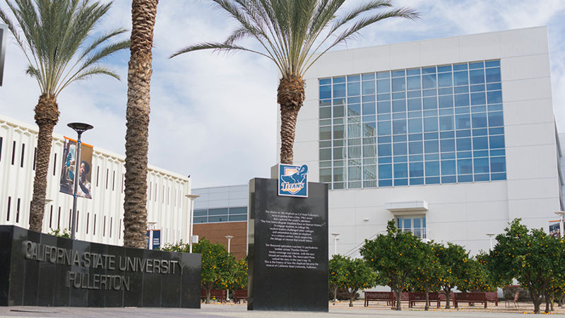 Exterior view from the west of the Steven G. Mihaylo Hall at Cal State Fullerton.