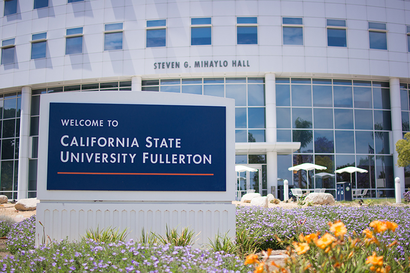 Exterior of the Steven G. Mihaylo Hall at Cal State Fullerton, which houses the largest business college on the West Coast.