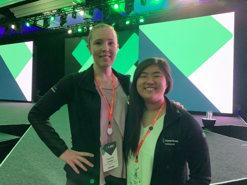 Cal State Fullerton personal financial planning students Naomi Lambert and Rachel Shin at the LINC Conference in San Diego in February 2019.
