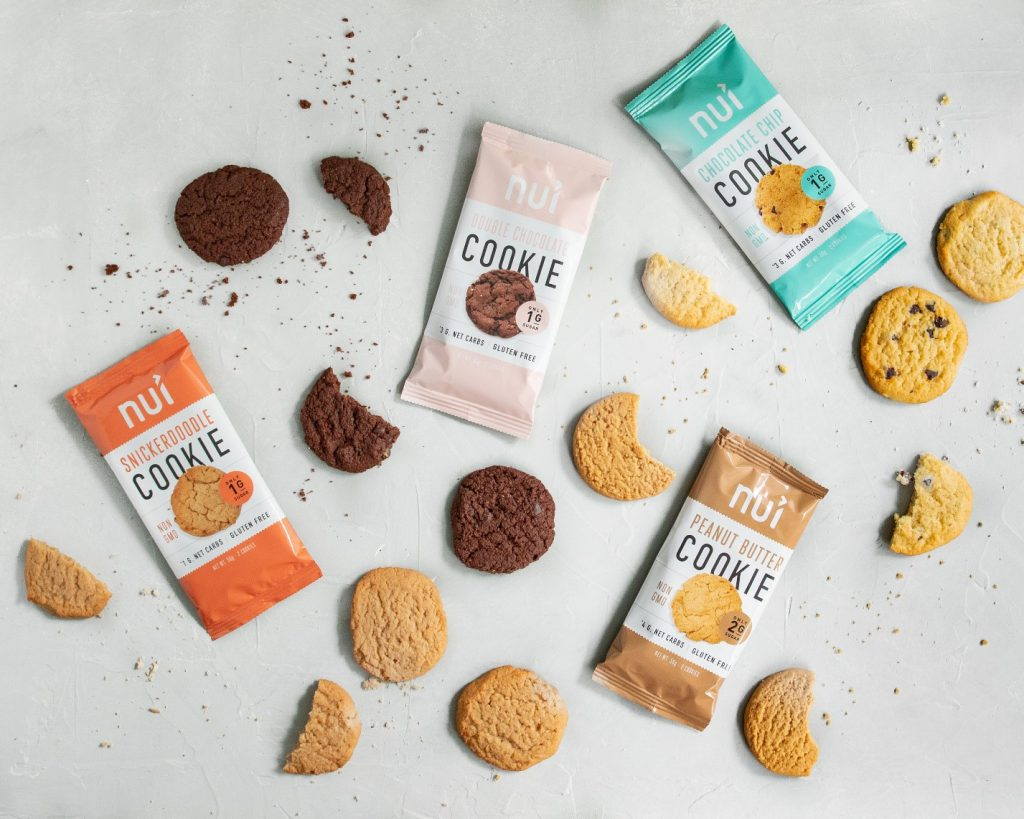 Various flavors of Nui Cookies and related packaging