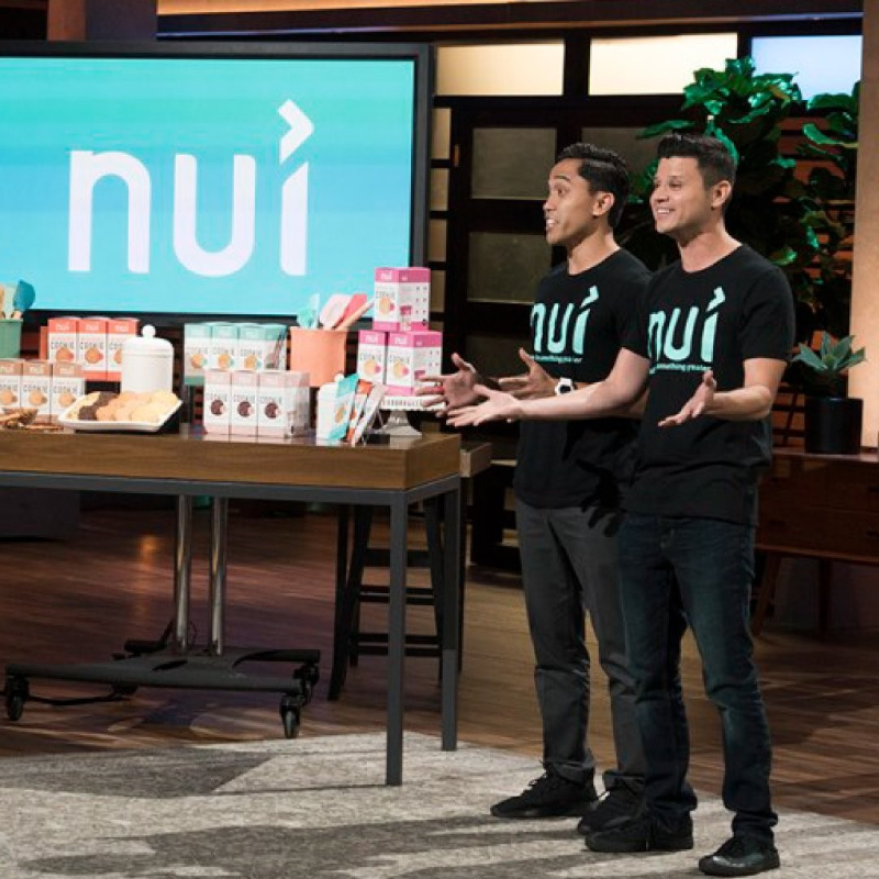 "Kris Quiaoit and Victor Macias present the Nui Foods concept on the ""Shark Tank"" TV show."