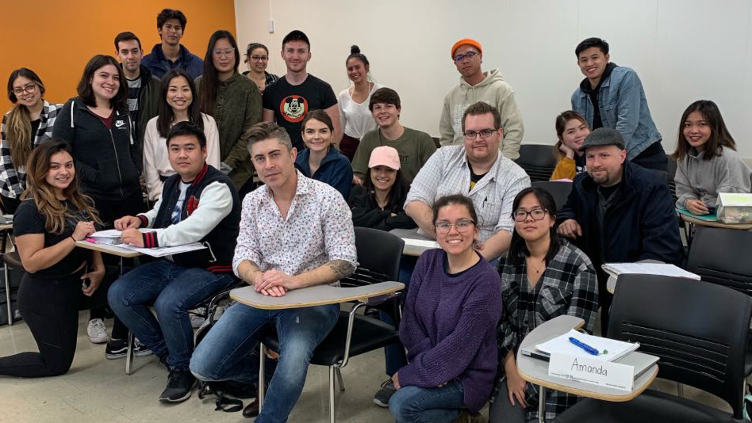Adam Gubman, partner, lead composer and audio director of Moonwalk Audio, ,with Cal State Fullerton students in February 2019.