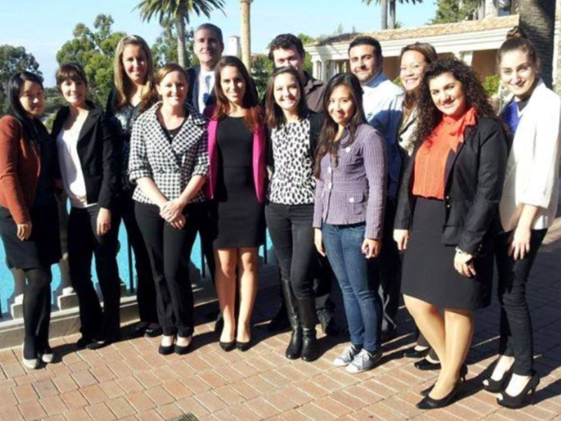Cal State Fullerton Mihaylo College Behind the Scenes entertainment club students and program faculty at the Pelican Hill Resort in Newport Beach, California in 2015.