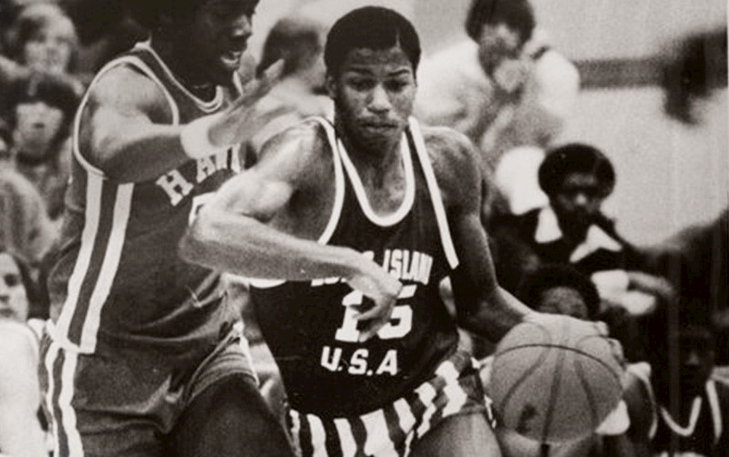 Michael Milligan, now Cal State Fullerton finance lecturer, plays basketball as a high school student in Long Island, New York, in the 1970s.