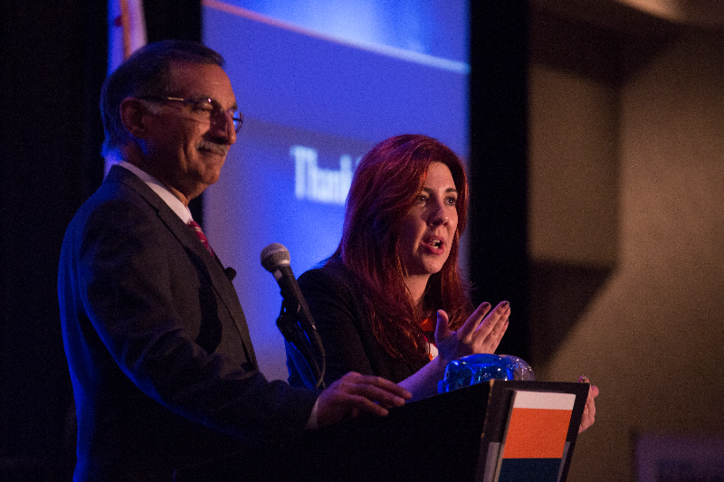 Anil Puri and Mira Farka at the Spring Economic Forecast event.