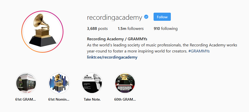screenshot of Recording Academy/Grammy's Instagram page run by Laura Rodriguez