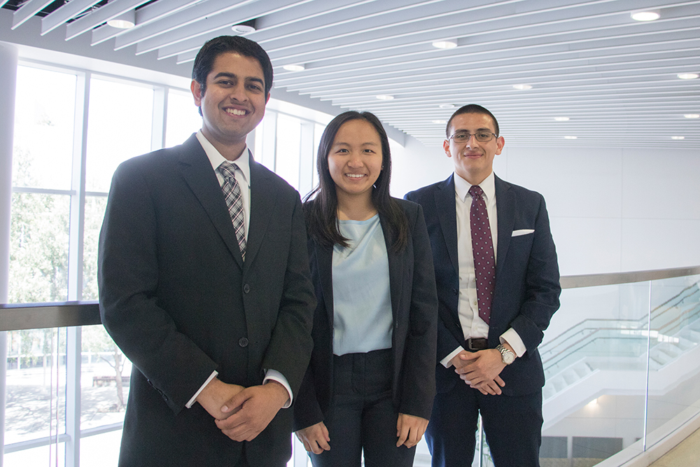 Three Cal State Fullerton accounting students at the Accounting Competition at Mihaylo Hall on April 12, 2019.
