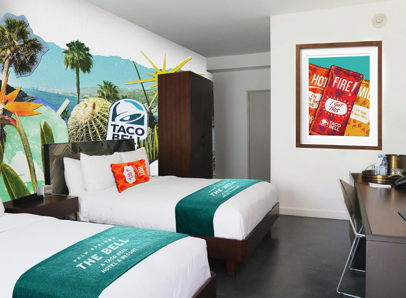 A room in The Bell, a pop-up hotel open in August 2019 by Taco Bell.