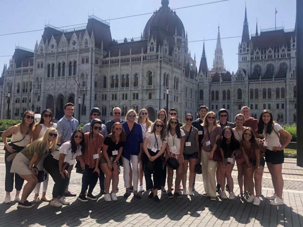 Mara Clifford and other young professionals who were part of the KPMG Leadership Edge program at the Parliament Building in Budapest, Hungary.