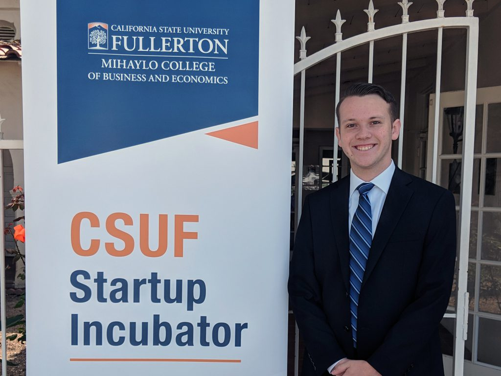Bryan Ruef, founder of 10-8 Systems, stands in front of the CSUF Startup Incubator in Placentia, California.