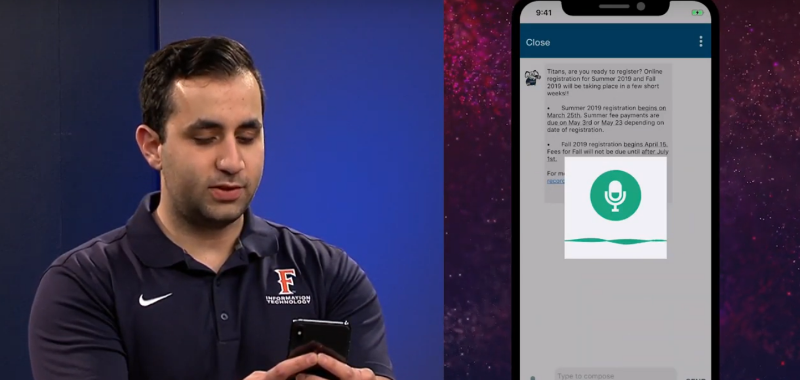 A student utilizes the iTuffy chatbot on his smartphone.