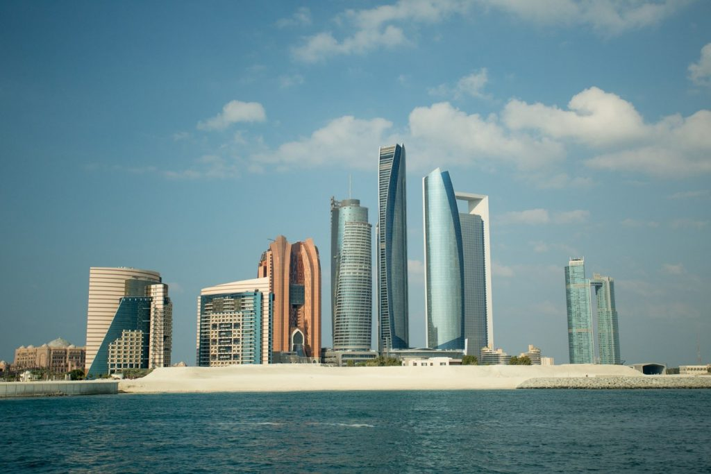 The skyline of Abu Dhabi, as seen from the Persian Gulf