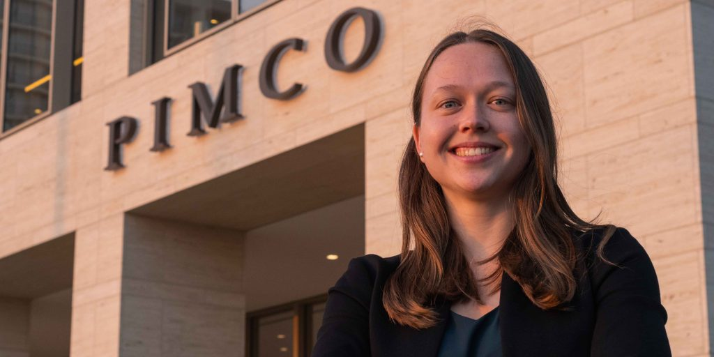 Laura Romine poses outside of PIMCO headquarters in Newport Beach, California, in November 2019.