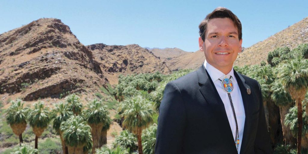 Cal State Fullerton business alumnus and Agua Caliente tribal councilor Anthony Purnel posing at the Palm Springs Canyons