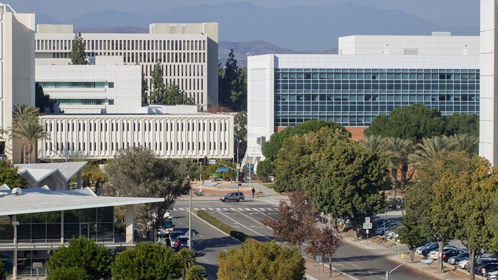 View of the Cal State Fullerton campus from University House apartments.