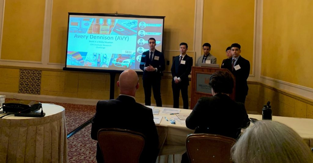 Professional judges evaluate students as they present at the CFA Society Los Angeles competition.
