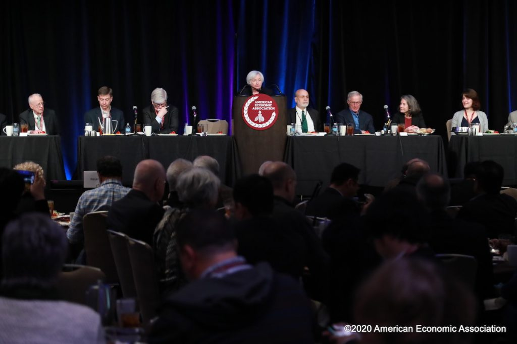 Janet Yellen (center) speaks at the American Economic Association conference in San Diego in 2020.