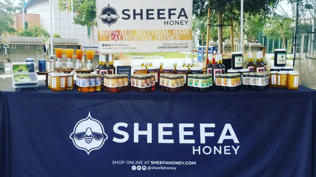 Sheefa Honey table with products at Cal State Fullerton