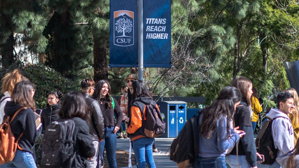Students congregate on campus at Cal State Fullerton