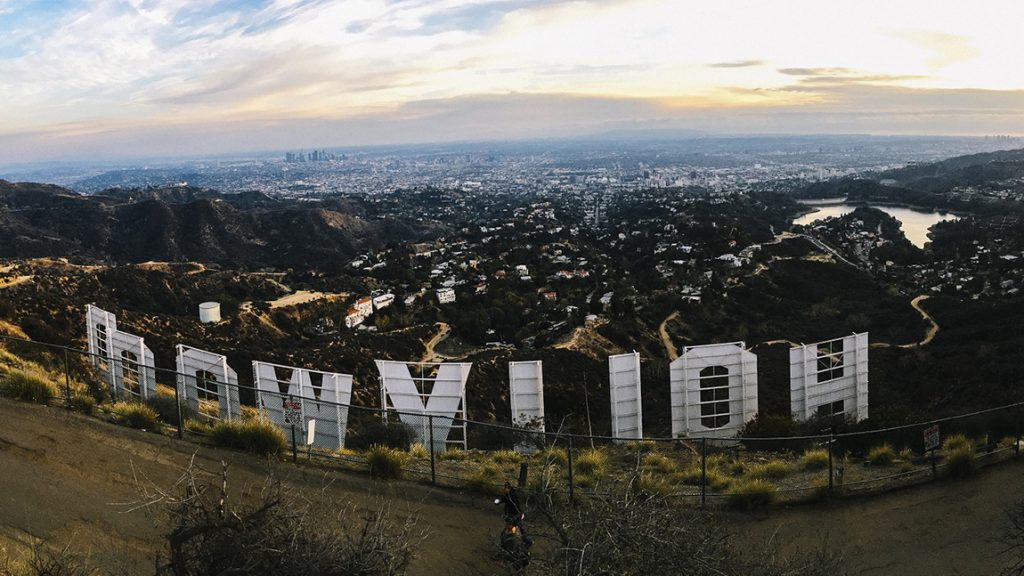 View overlooking Los Angeles from behind Hollywood sign