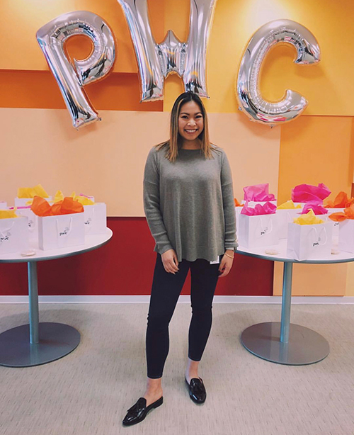 Katherine Diep at accounting firm PWC headquarters