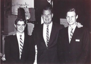 """Terry Giles (left) and Joe Moderow (right) in this early photo. The gentleman in the middle is the Hall of Fame defensive tackle for the LA Rams (1962-1976) and television actor from """"Little House on the Prairie"""" Merlin Olsen."""