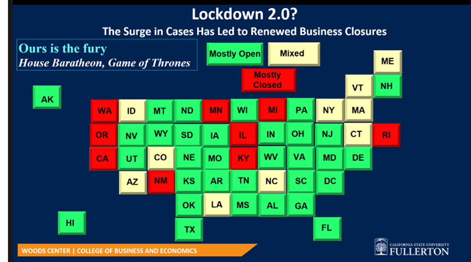 Map showing lockdown conditions across the U.S. in December 2020