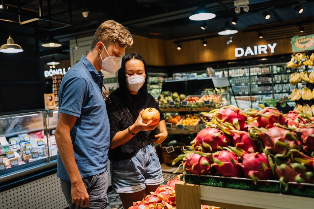 Shopping wearing face masks during the COVID-19 pandemic